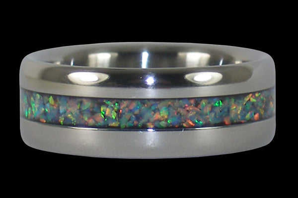 Black Fire and Ice Lab Opal Titanium Ring Band