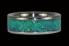 Black Kiwi Green Opal Titanium Ring - Hawaii Titanium Rings  - 4