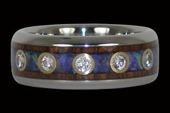 Australian Opal and Diamond Titanium Ring - Hawaii Titanium Rings  - 1