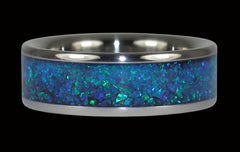 Black Peacock Synthetic Opal Titanium Ring - Hawaii Titanium Rings  - 1