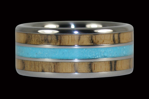 Black and White Ebony Wood Turquoise Titanium Ring Band