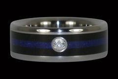 Titanium Diamond Ring with Lapis and Blackwood - Hawaii Titanium Rings  - 1