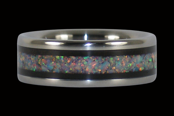 Blackwood and Fire Opal Titanium Ring From Hawaii Titanium Rings®