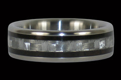 Titanium Ring with White Carbon Fiber and Black Wood - Hawaii Titanium Rings  - 1