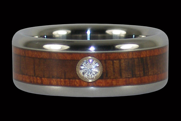 Diamond Titanium Ring with Blood Wood and Koa