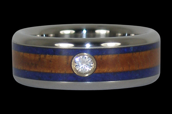 Titanium Diamond Ring with Koa and Lapis
