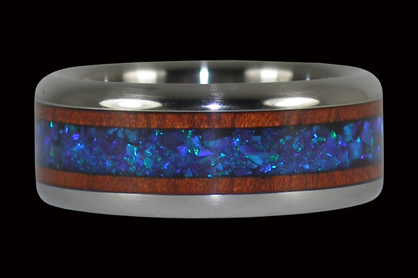Bloodwood and Black Lab Opal Titanium Ring