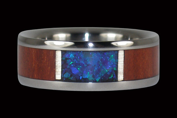 Bloodwood with Black Opal Titanium Ring Band