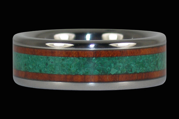 Green Malachite Red Bloodwood Titanium Ring Band