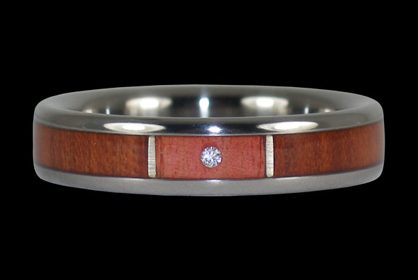Pink Ivory Wood Diamond Bloodwood Ring