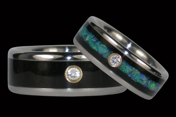 Diamond Opal and Black Wood Titanium Ring Set