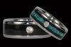 Diamond Opal and Black Wood Titanium Ring Set - Hawaii Titanium Rings  - 1
