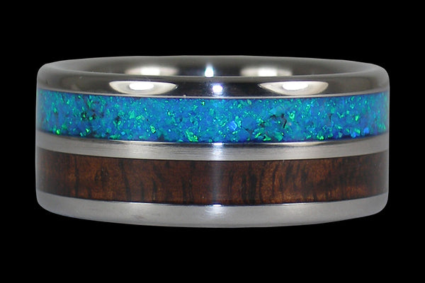 Dark Koa Hawaii Titanium Ring® with Blue Lab Opal