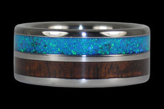 Fire Koa Titanium Ring with Red Lab Opal - Hawaii Titanium Rings  - 1