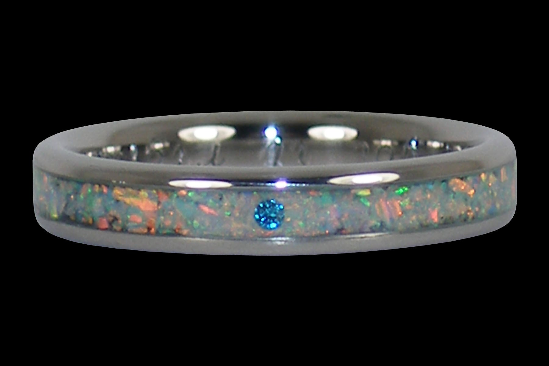 Blue Diamond and Opal Engagement Ring Hawaii Titanium Rings