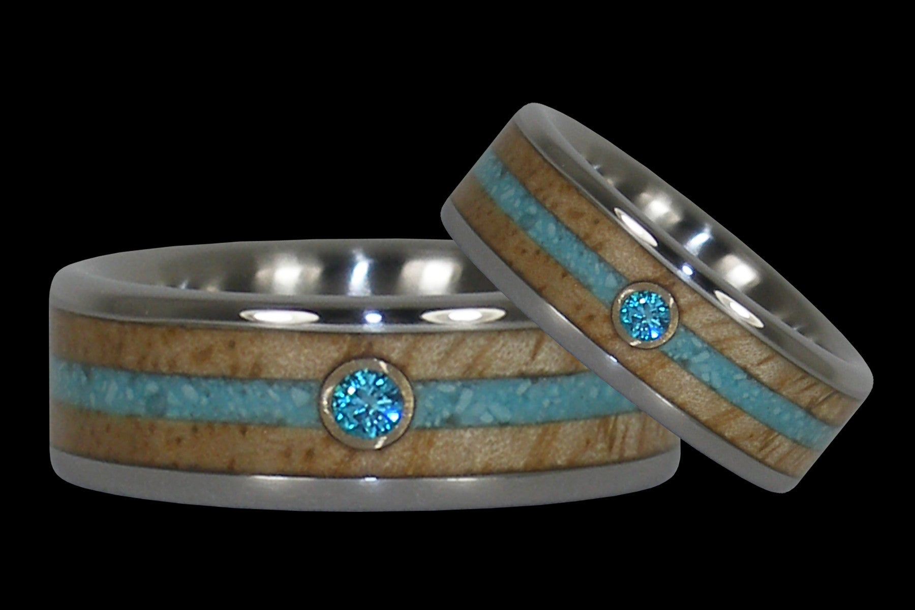 Blue Diamond Mango Wood Turquoise Rings | Hawaii Titanium Rings