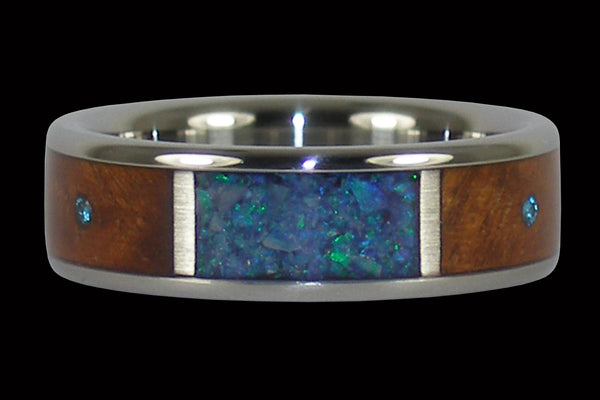 Australian Opal and Blue Diamond Hawaii Titanium Ring®