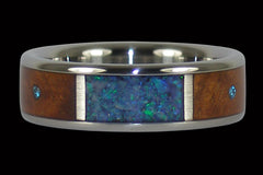 Australian Opal and Blue Diamond Titanium Ring - Hawaii Titanium Rings  - 1