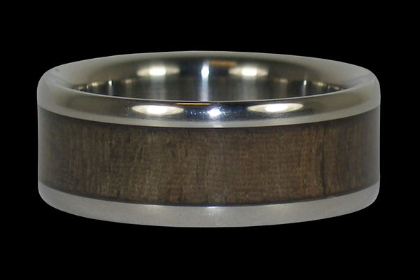 Blue Mahoe Wood Inlay Titanium Ring Band