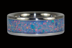 Blue Marine Opal Titanium Ring - Hawaii Titanium Rings  - 1