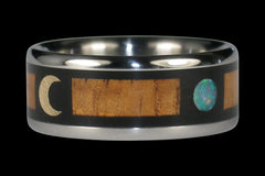 Blue Opal and Gold Moon Titanium Ring - Hawaii Titanium Rings  - 1