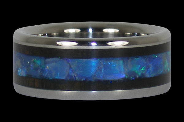 Blue Opal and Blackwood Titanium Ring