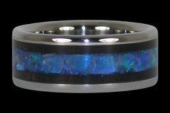 Australian Opal and Blackwood Titanium Ring - Hawaii Titanium Rings  - 1