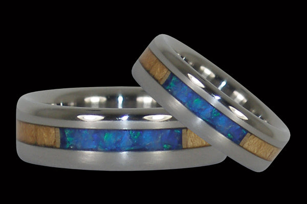 Opal and Koa Wood Hawaii Titanium Ring® Set