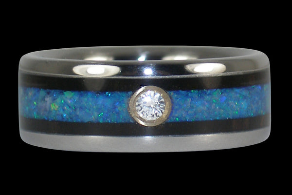 Blue Opal and Wood Diamond Titanium Ring