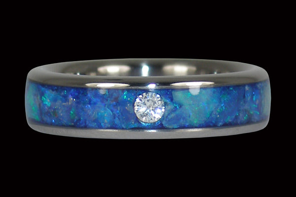 Blue Opal Diamond Titanium Stack Ring From Hawaii Titanium Rings®