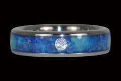Blue Opal Diamond Titanium Stack Ring - Hawaii Titanium Rings