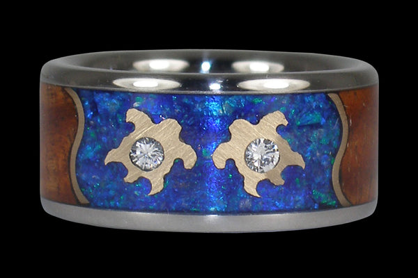 Forever Love Wedding Band with Blue Opal Diamonds Gold Turtles and Koa Wood From Hawaii Titanium Rings®