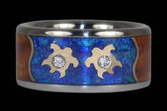 Forever Love Wedding Band with Blue Opal Diamonds Gold Turtles and Koa Wood - Hawaii Titanium Rings  - 1