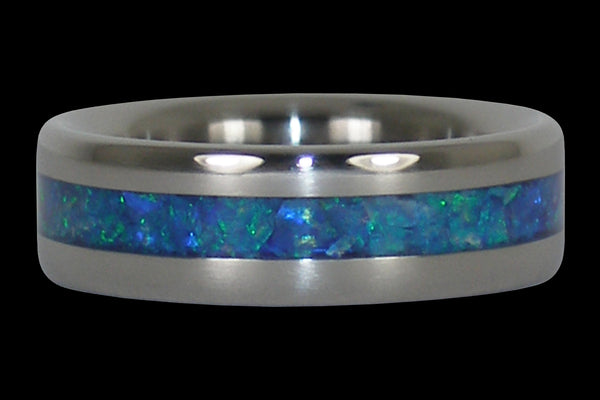 Sky Blue Opal Titanium Ring Band