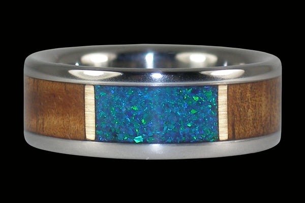 Koa Wood and Blue Opal Window Hawaii Titanium Ring®