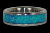 Blue Azure Opal Titanium Rings - Hawaii Titanium Rings  - 2