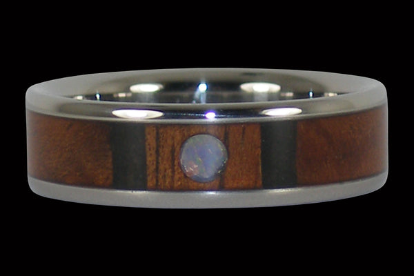 Hawaiian Koa Wood and Opal Hawaii Titanium Ring®