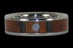 Hawaiian Koa Wood and Opal Titanium Ring - Hawaii Titanium Rings
