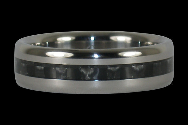 Black Carbon Fiber Ring with Narrow Inlay