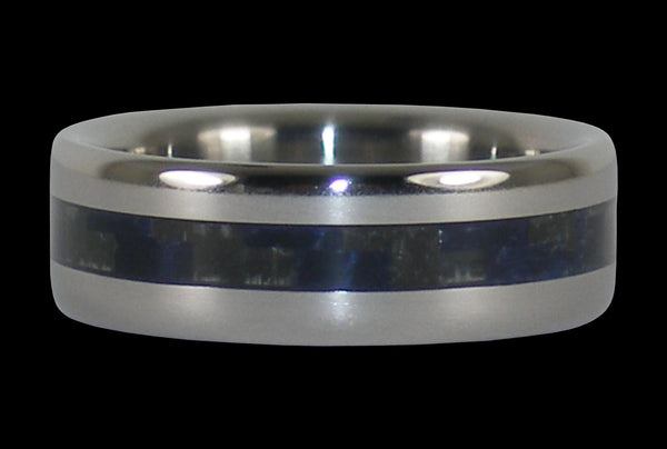 Blue Carbon Fiber Titanium Narrow Inlay Ring