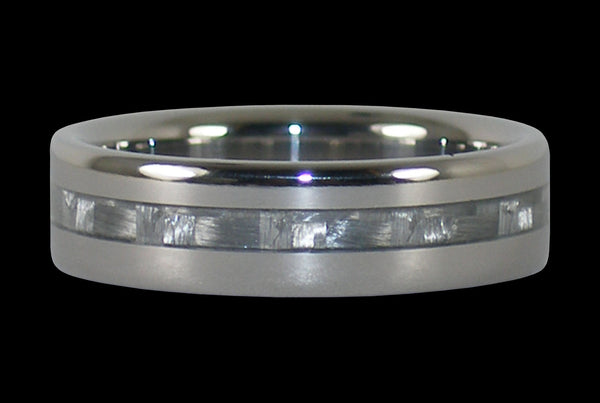 White Carbon Fiber Narrow Inlay Titanium Ring Band