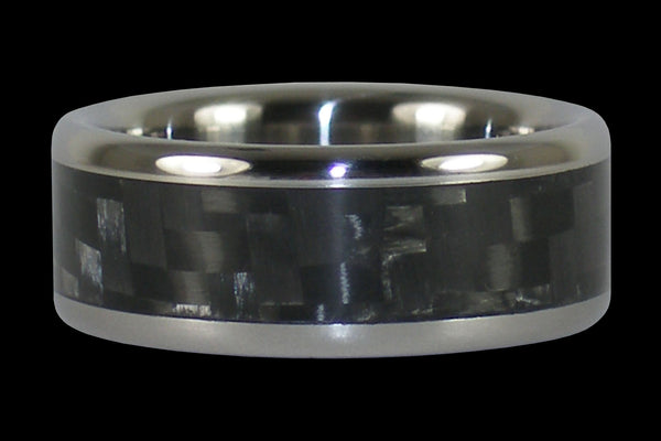 Black Carbon Fiber Titanium Ring Band