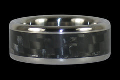 Black Carbon Fiber Titanium Ring Band - Hawaii Titanium Rings  - 1
