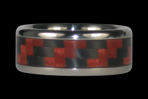Red Orange Carbon Fiber Titanium Ring Band