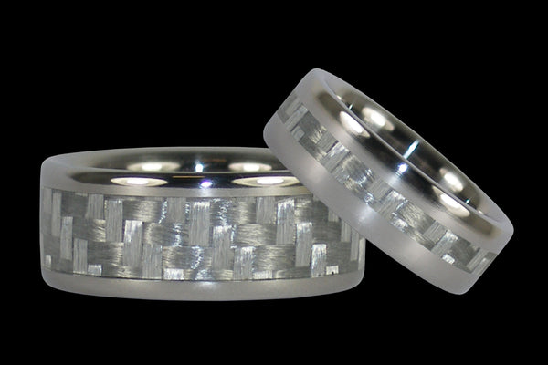White Carbon Fiber Wedding Ring Set