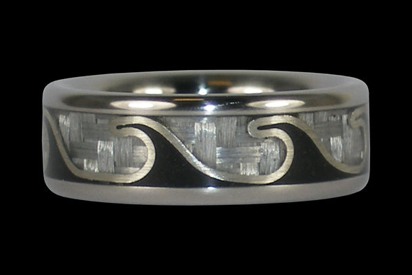 Titanium Ring featuring Black Stone Waves and White Carbon Fiber