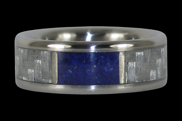 Blue Lapis and White Carbon Fiber Titanium Ring