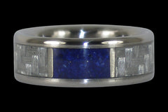 Blue Lapis and White Carbon Fiber Titanium Ring - Hawaii Titanium Rings
