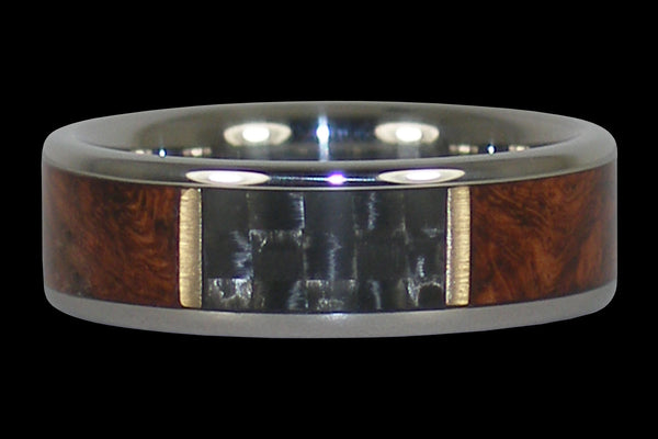 Amboyna Wood and Black Carbon Fiber Titanium Ring