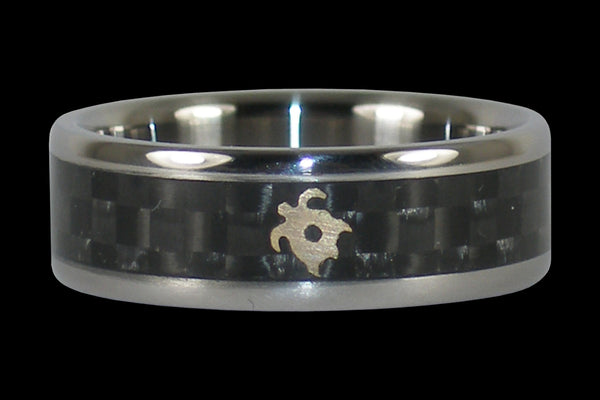 Black Carbon Fiber Turtle Titanium Ring